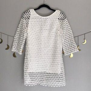 White scalloped lace dress